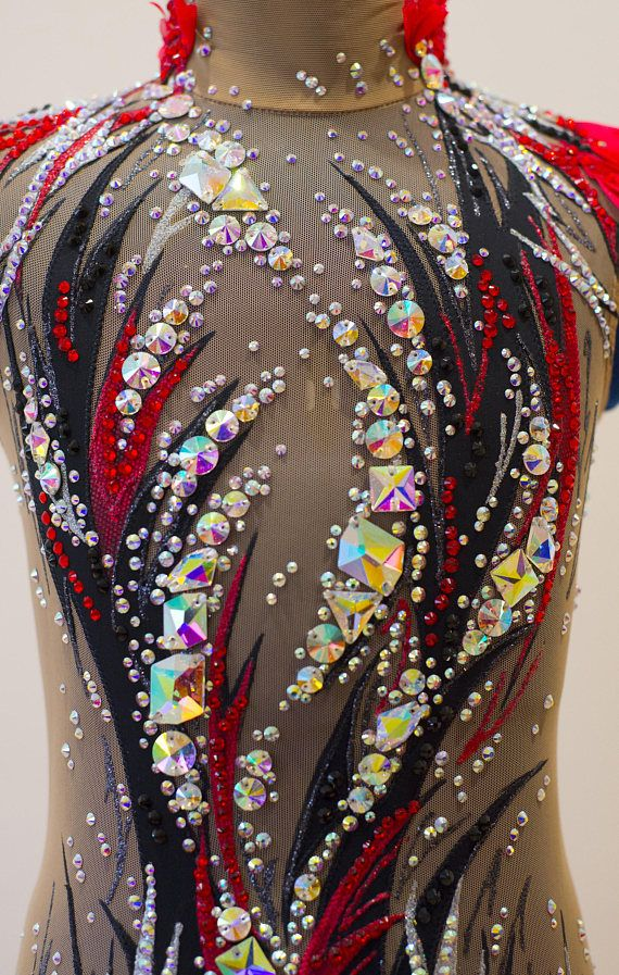 Rhythmic gymnastic leotard Black&Red Video: https://youtu.be/rgd8VuoylUk New In the production used: 1. Hand-painted on fabric. 2. stones ( crystals ) DMC AB Luxury class. 3. supplex and net - production of Italy. Leotard is suitable for a girl with such parameters: Height 130-136 cm.