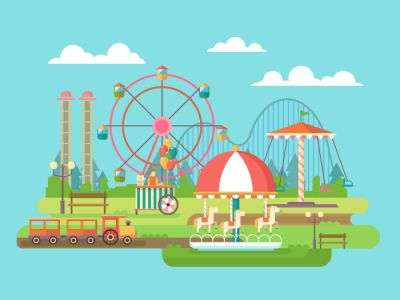Amusement park flat vector illustration