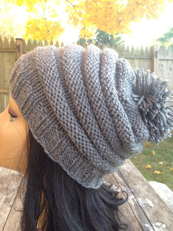 Gray hat Women's Knit Hat Winter Hat Slouchy by SongulDesigns, $25.00
