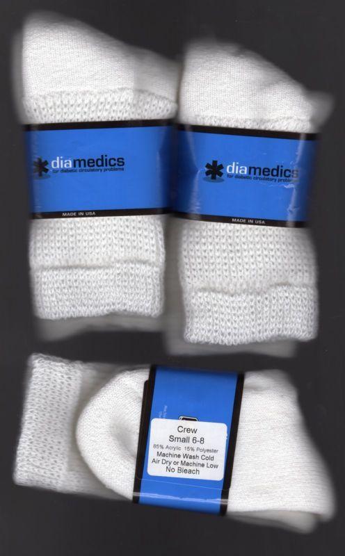 ( 3 ) PAIR OF (*diamedics) DIABETIC SOCKS White Crew Size 6-8 USA Made  #ad