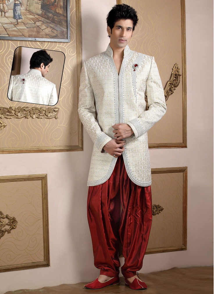 Indo western sherwani south asian grooms pinterest for Indo western wedding dress for men