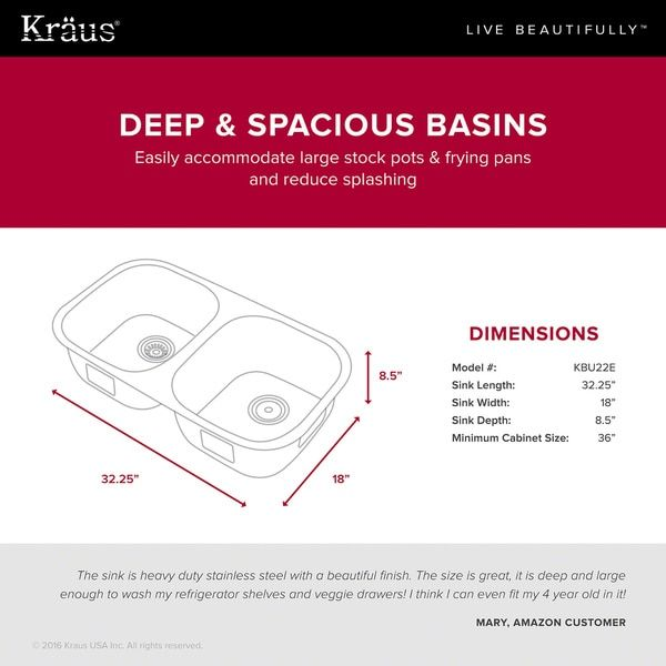 "rounded 8.5 d KRAUS Outlast MicroShield™ Scratch-Resist Stainless Steel Undermount 50/50 Double Bowl Sink, 32"" 16 Gauge, Premier Series"