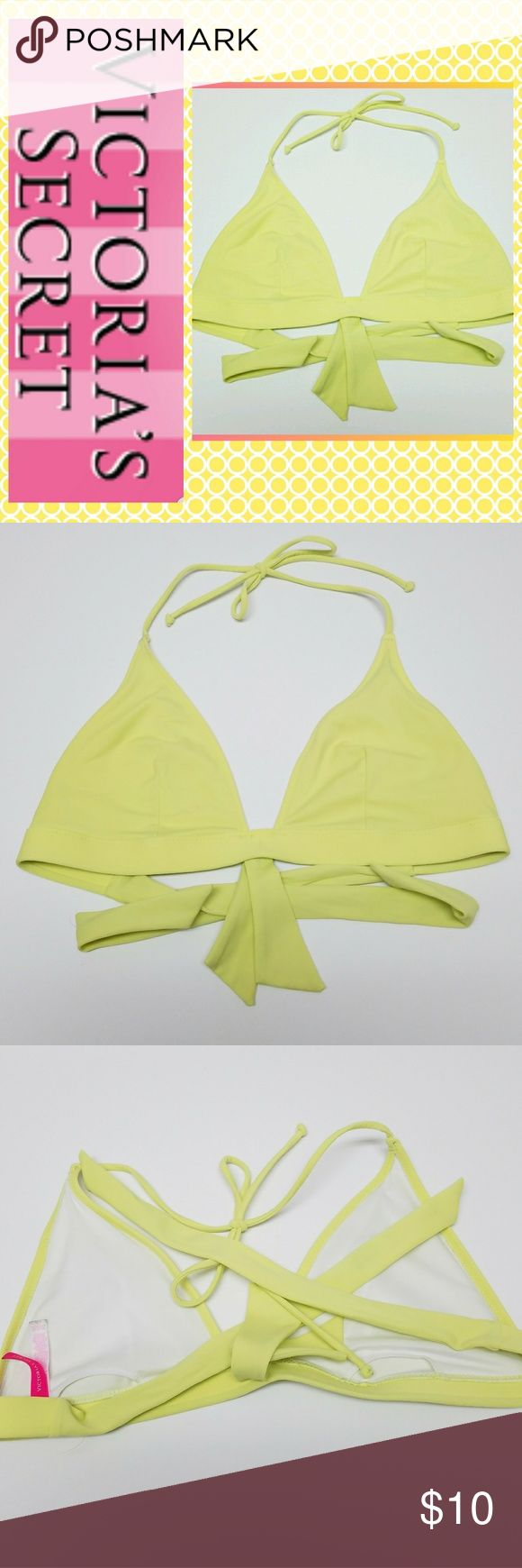 Cute VS Swim Bikini Top In great condition, Reposhing sadly did not fit me, size L, highlight yellow color, no padding, but has inserts for swim pads  ***WEEKEND SALE IN CLOSET*** 🎀= bundle 3 for $10 or 4 for $12 I'm moving cross country and need to get rid of stuff :) ♡Thanks for looking♡ Victoria's Secret Swim Bikinis