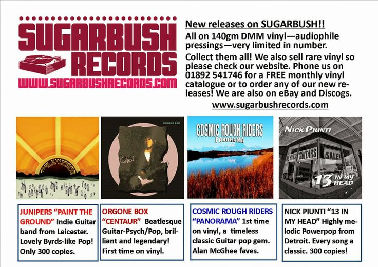 "SUGARBUSH RECORDS Rare Vinyl Mail Order: COSMIC ROUGH RIDERS ""PANORAMA"" & NICK PIUNTI ""13 I..."