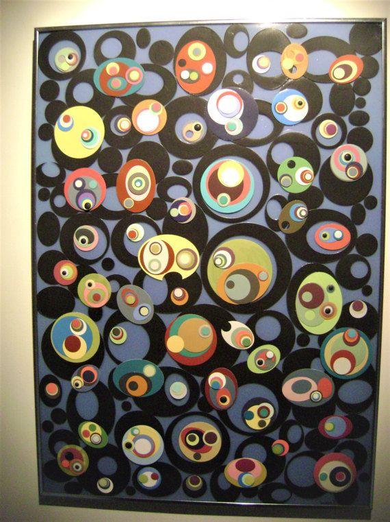 Paper wall art,paper and plastic wall sculpture,mixed media art ...