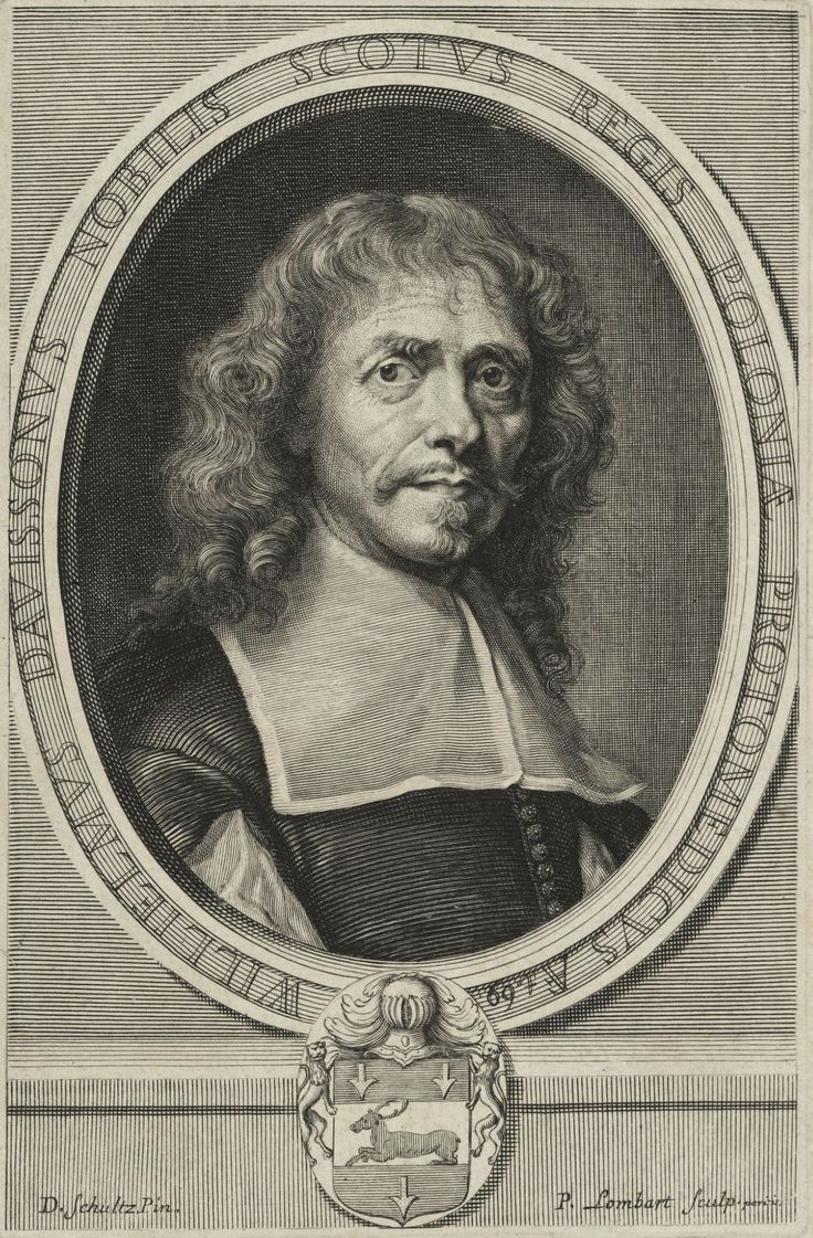 William Davisson, Scottish chemist, physician and surgeon to the King of Poland by Pierre Lombard after Daniel Schultz, ca. 1651 (PD-art/old), LWL-Museum für Kunst und Kultur; having won the favors of the Queen Marie Louise Gonzaga, Davisson became physician of John II Casimir Vasa and the royal family and superintendent of the royal gardens from 1651 to 1667