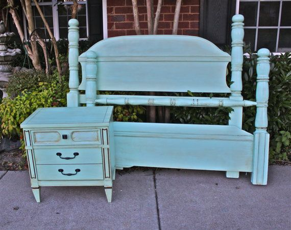 Aquamarine Full Bed/ Headboard/ Foot Board/ Shabby Chic /Beach Cottage /Coastal. $350.00, via Etsy.