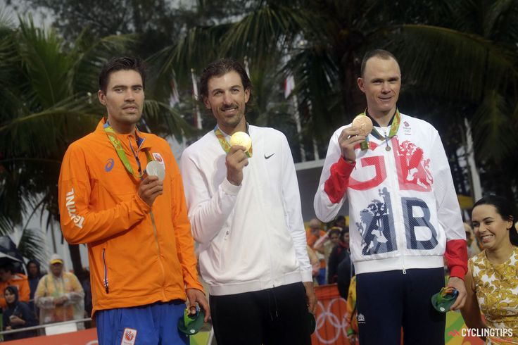 Cancellara smashes Rio time trial to take second Olympic gold medal.........The podium of the 2016 Olympic time trial, from left: Tom Dumoulin (The Netherlands), Fabian Cancellara (Switzerland), Chris Froome (Great Britain).