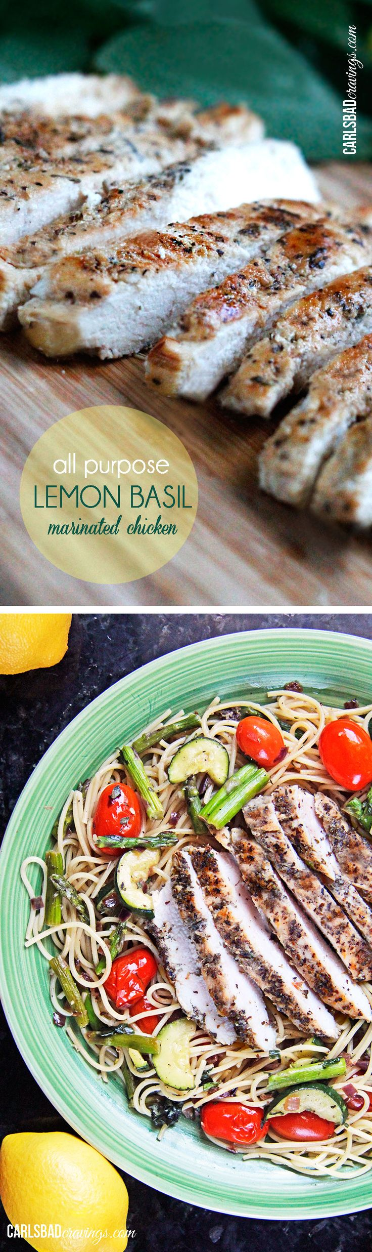 Quick and easy lemon basil chicken perfect to toss in pasta, salad, wraps, pitas, etc..