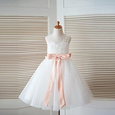 A-line Knee-length Flower Girl Dress - Lace / Tulle Sleeveless Scoop with Bow(s) / Sash / Ribbon - USD $ 69.99