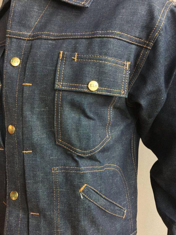 Ely Deadstock pieghe giacca Denim grezzo scuro con di MidNorthMerc