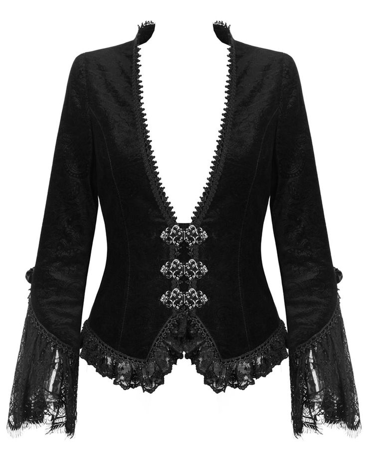 beautiful velvet & lace jacket with silver clasps <3