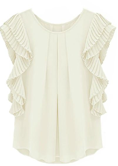 White Ruffles Sleeve Loose Chiffon Blouse