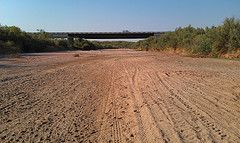 The dry Brazos River, at Seymour, in August 2011. Photo credit: Brazos River Authority
