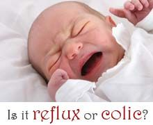 How to tell if your baby has GERD reflux or colic, how to tell them apart, and how to treat a baby with either condition.