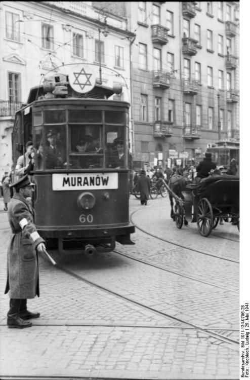 Warsaw Ghetto: Tram with a Star turning from Leszno street into Karmelicka Street, Warsaw, Poland, 25 May 1941.