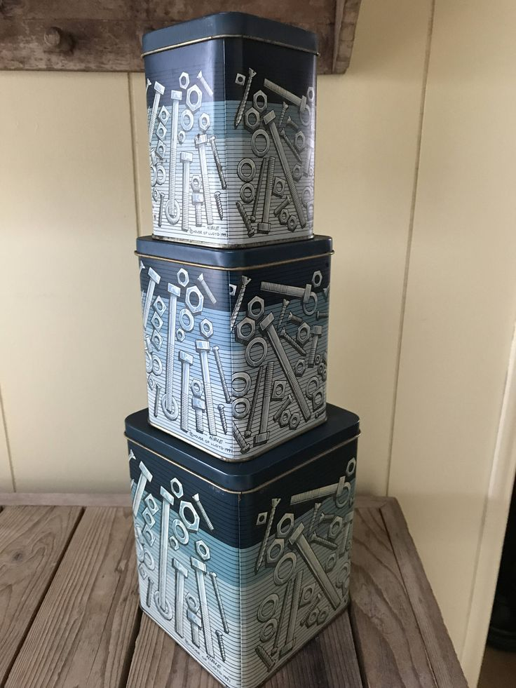 tool storage nuts bolt screw tins stack of 3 tins shades of blue jean blues metal storage containers man cave garage storage