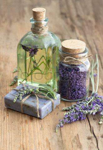 lavender oil, herbal soap and bath salt