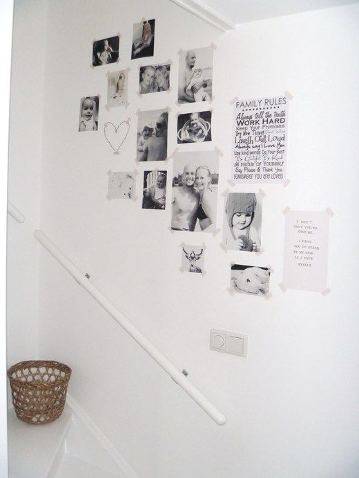PHOTOS & WASHI TAPE. like this idea for my entrance hall