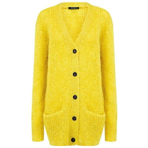 Pink Tartan - Mohair Oversized Cardigan ($104) ❤ liked on Polyvore featuring tops, cardigans, mohair cardigan, mustard top, mustard yellow cardigan, yellow cardigan and yellow top