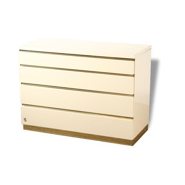 Commode laquée blanc JC Mahey pour Romeo - Bois - Beige - Bon état - Vintage - 97151