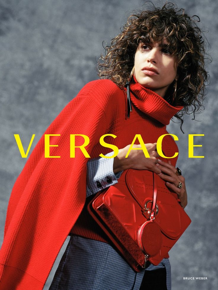 Mica Arganaraz sports a red look in Versace's fall-winter 2017 campaign