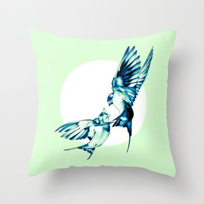 Birds Throw Pillow by Nuam - $20.00 ☀ ☀ ☀    #Bird, #Vector, #Swallow, #Spring, #Nature, #Birds, #Animal, #Animals, #Illustration, #Love, #Family, #Trust, #Feed, #Food, #Hipster, #Swallows, #Care, #Fly, #Spring, #Wings, #TwoBirds, #Romantic, #Bohemian, #Fly, #Flying #FlyingBird, #FlyingBirds #Decorative #homedecor #pillow #throwpillow #decorativepillow #confort