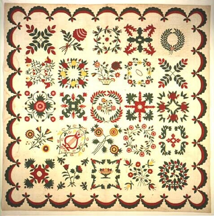 "This beautiful quilt, however, belongs to a type sometimes referred to as a ""death watch quilt."" It was made in 1847, the year of his death, to honor Eli Lilly, grandfather of Colonel Eli Lilly, who in 1876 founded the Indianapolis pharmaceutical firm named for him. Twenty of the blocks were signed by the friends and family who gathered at Lilly's bedside during his final days, and his own signature appears in the block with the lyre."