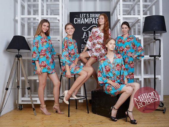 These elegant, Cotton floral print robes are the perfect thing to wear while getting ready with your bridesmaids for the Big Day. Capture perfect photos and give your friends a special memento to enjoy long after the last dance.  Our gorgeous robes will be the perfect gift for bridesmaids, made of honor, mother of the bride, mother of the groom, matron of honor, etc.  COLOR: you can either get them all in one color or mixed and match colors to get the combination you like.  Our beautiful…