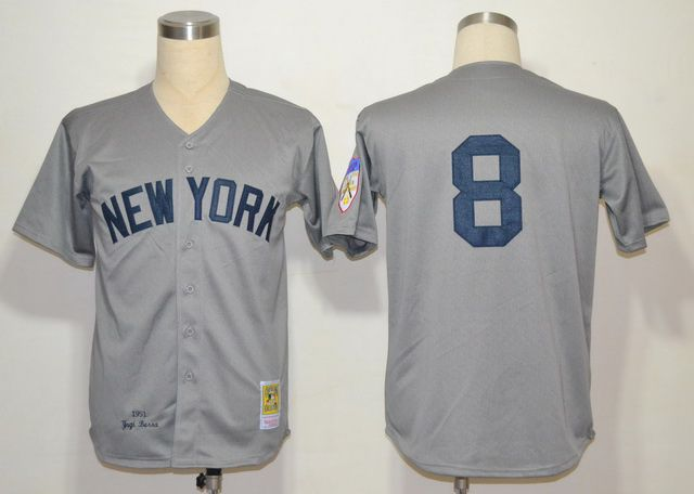 Men's MLB New York Yankees #8 Yogi Berra Grey Jersey