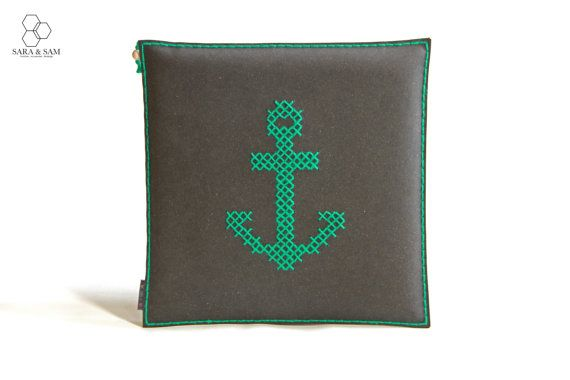 Unique Seat Cushion, Hand Embroidery, Leather Cushion, Recycled Leather, Cross-Stitch, Anchor Pillow, Custom Seat Cushion, Modern Home Decor