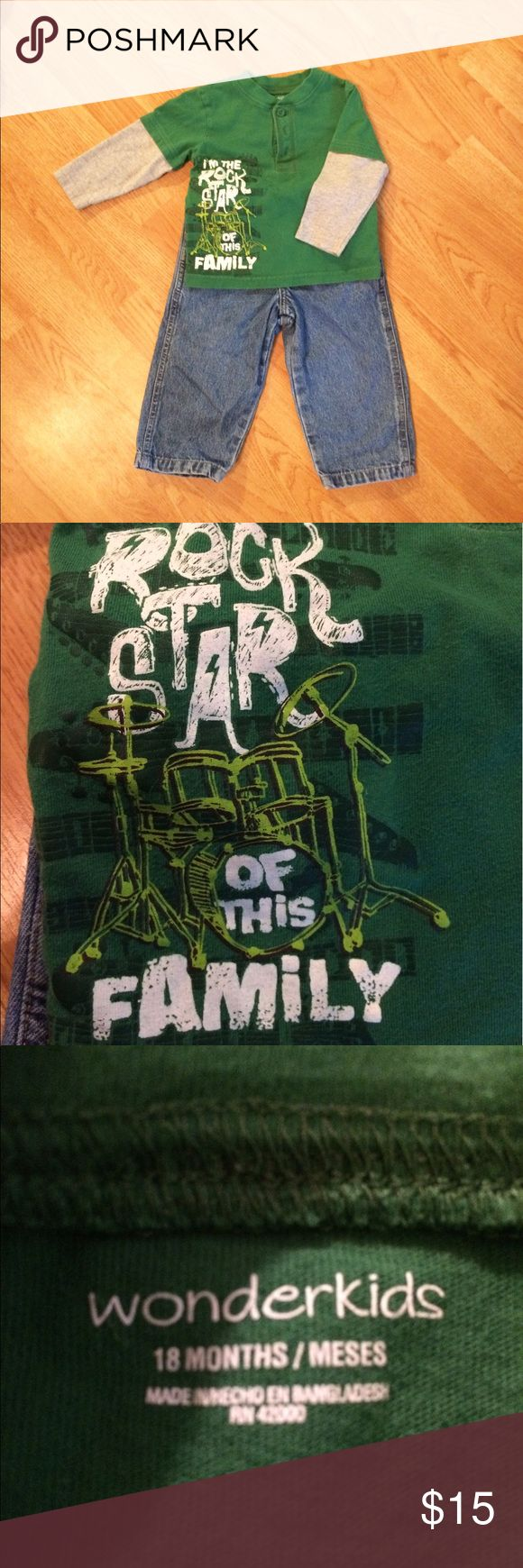 💟 Wonderkids Rock Star Outfit - 18 Months Wonderkids Rock Star Outfit - 18 Months  Green Rockstar Long Sleeve Shirt - Wonderkids - 18 Months  Jeans - Faded Glory - 18 Months   Great Condition!!   BUNDLE with my other listings for a DEAL!!! Wonderkids Shirts & Tops Tees - Long Sleeve