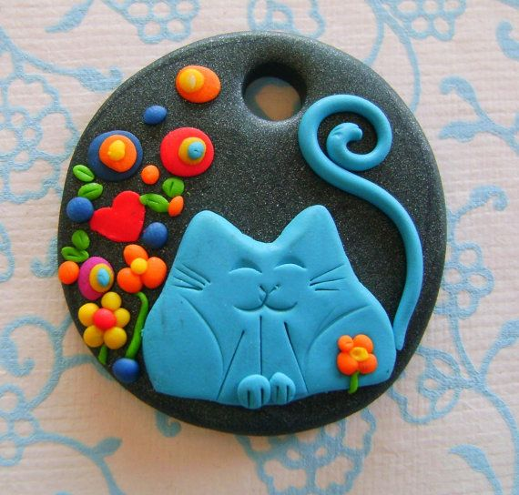 Fimo Polymer Clay Necklace Medallion - cat and flowers in the garden via Etsy