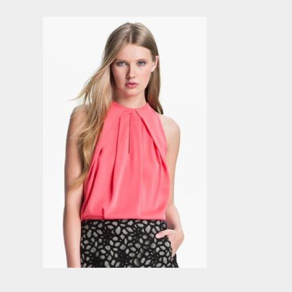 """DIANE von FURSTENBERG Diane Von Furstenberg – Elaine, womens pink nectar silk top with a pleated round neckline and low slung armholes. The top also features a double hook rear collar fastening and a pleated rear keyhole opening. Model is 5'9"""" and a UK size 10. 95% Silk, 5% spandex. Diane von Furstenberg Tops Blouses"""