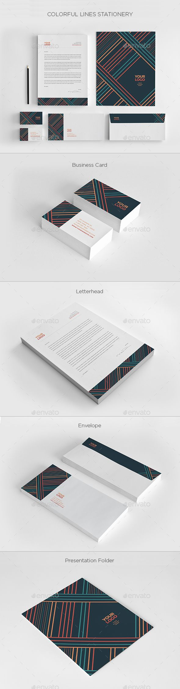Colorful Lines Stationery - Stationery #Print #Templates Download here: https://graphicriver.net/item/colorful-lines-stationery/20062278?ref=alena994