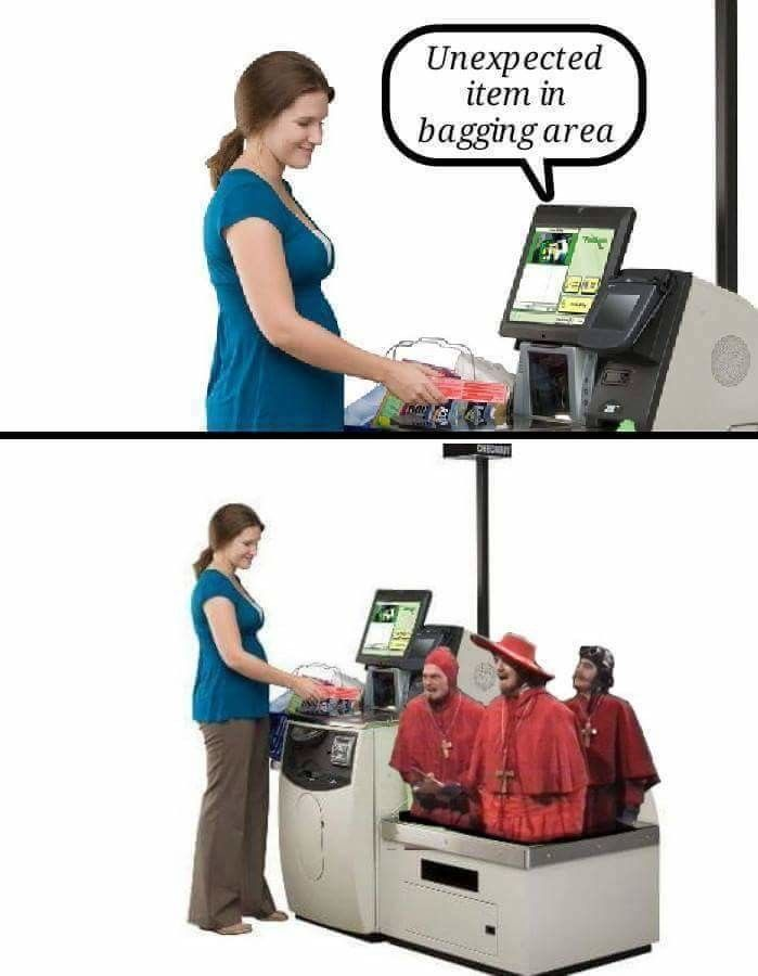 Unexpected item in bagging area (Monty Python & the unexpected Spanish Inquisition)