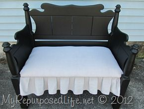 Twin bed-bench upholstered (44): Repurpo Life, No Sewing, Twin Headboards, Beds Benches Upholstered, Upholstered Twin, Twin Beds Benches, Upholstered Headboards, Diy Projects, Headboards Benches