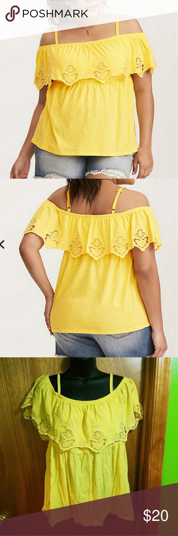 Babydoll Cold Shoulder Tank Close your eyes and think of summer. This top should appear. The bright yellow knit is totally hot, while the cold shoulder cutouts reap the benefits of the sun with skin-baring straps. A scalloped and eyelet-embellished ruffled overlay lends flounce to the stretchy babydoll waist underneath.  Worn no more than twice. torrid Tops Blouses