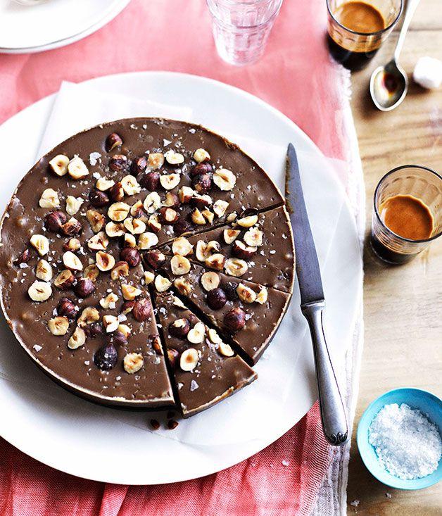 Australian Gourmet Traveller recipe for salted muscovado and hazelnut fudge.