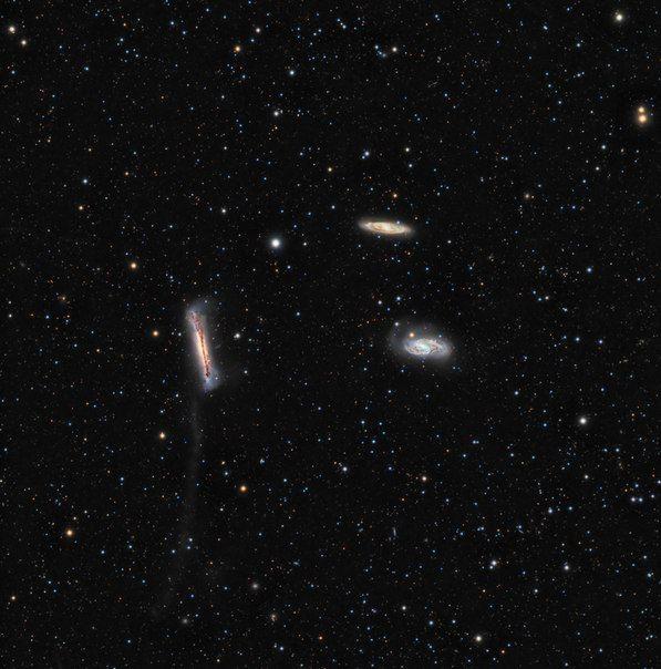 Приливной хвост галактики NGC 3628 / Популярная астрономия