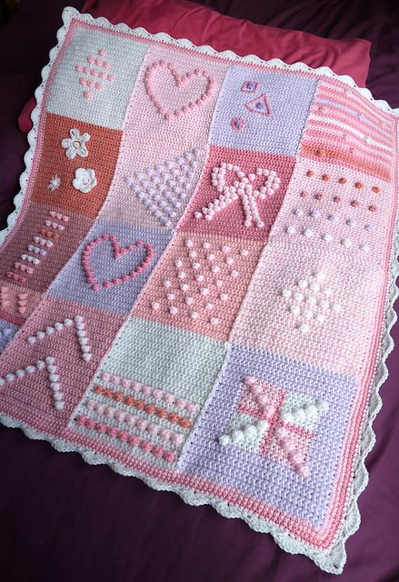 Ravelry: debbieredman's Pink and lilac bobbly squares
