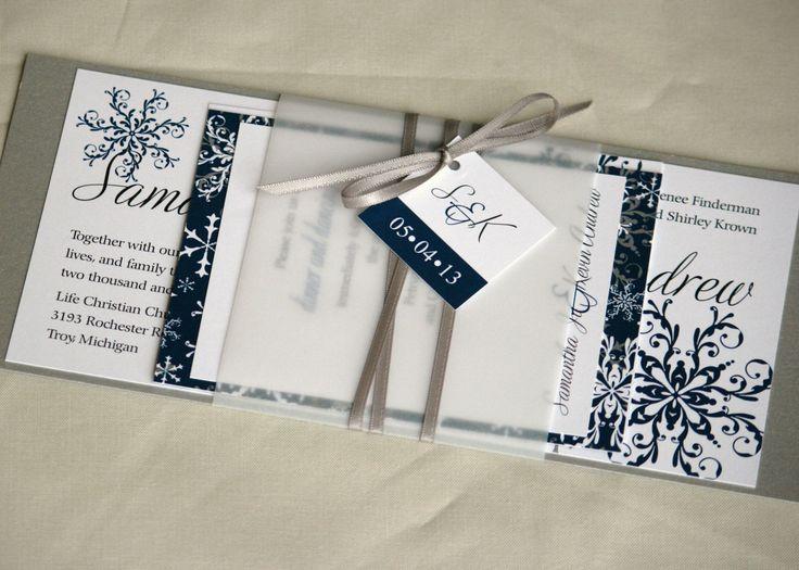 Winter Snowflake Christmas Custom Layered Wedding Invitation Suite Wedding  Invite Wedding Card DEPOSIT By ExpressiveInvites On Etsy
