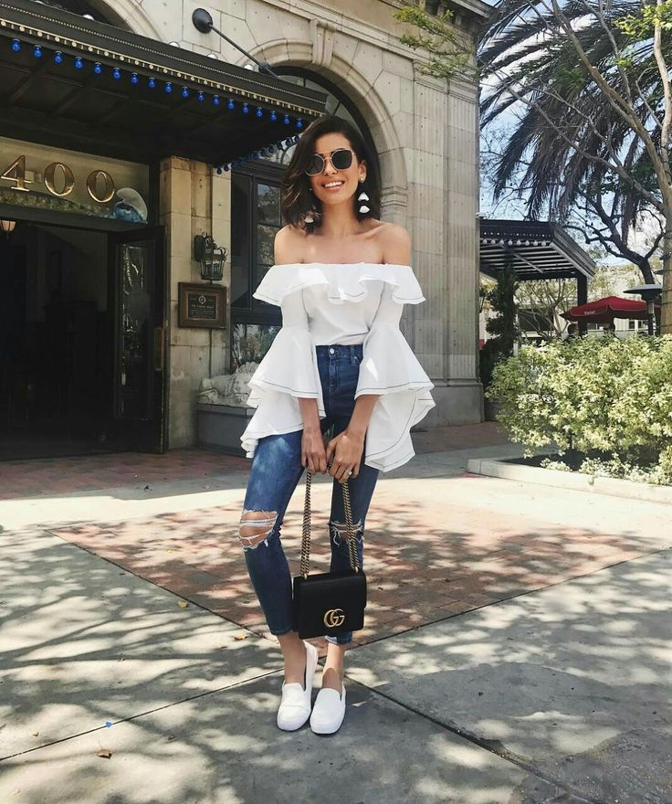 Ruffles and off the shoulder top for spring style. #outfit #spring #springstyle #offtheshoulders #whitetop #sneakers #guccibag #sazanhendrix #fabfashionfix