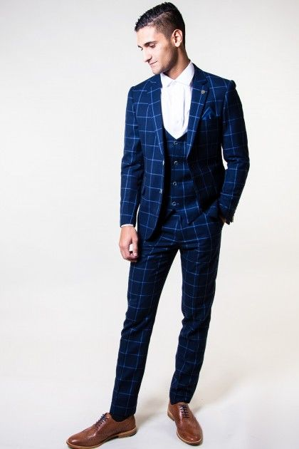 MAGNUM - Blue Windowpane Check Print Three Piece Suit