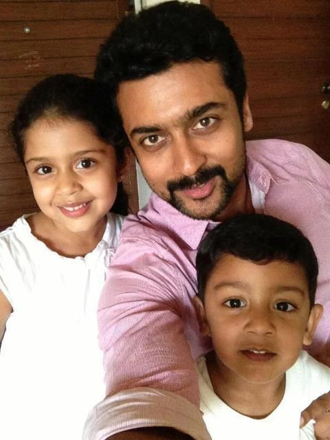 Suriya With his Son and Daughter