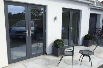 Grey aluminium french doors
