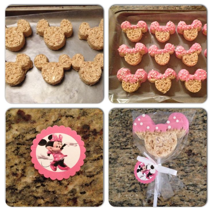 Minnie Mouse Rice Krispie Treats dipped in pink chocolate
