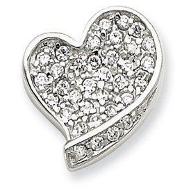 Sterling Silver CZ Heart Pendant - JewelryWeb JewelryWeb. $36.40. Save 50% Off!
