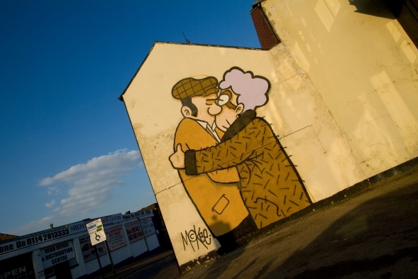 More amazing street art in Sheffield. This is by Pete McKee and can be found on the side of Fagans.