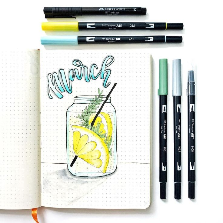 Bullet journal monthly cover page, March cover page, lemonade drawing. | @skulleyart
